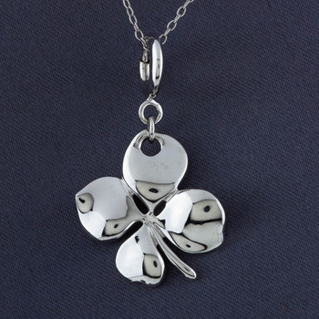 ELLE Sterling Silver 4 Leaf Clover Charm with Chain