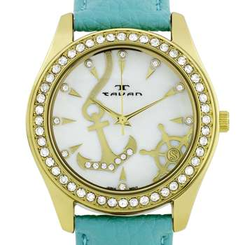 Tavan Nautical Ladies Watch - Teal Genuine Leather Strap, Gold Case, White MOP Dial* 24 hrs! No Reserve *