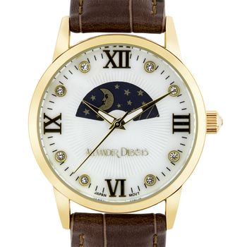 Lumieres Ladies Watch - Brown Croco Pattern Genuine Leather Strap, Gold Case, White Pearl Dial, Gold Indexes* 24 hrs! No Reserve *