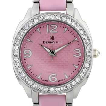 Bernoulli Daeva Ladies Watch - Silver Bracelet, Pink Enamel Inserts, Silver Case, Cz Stone Bezel, Pink Dial, Silver Indexes* 24 hrs! No Reserve *