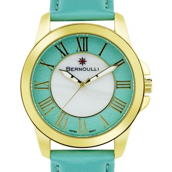 Bernoulli Faun Ladies Watch - Mint Genuine Leather Strap, Gold Case, Mint Dial, White MOP Dial Core* 24 hrs! No Reserve *