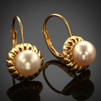 14KY 6mm Lever Back Button Pearl Earrings