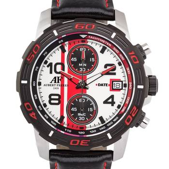 Aubert Freres Durand Chronograph Mens Watch - Black Leather Strap, Silver Case, White/Red Dial* 24 hrs! No Reserve *