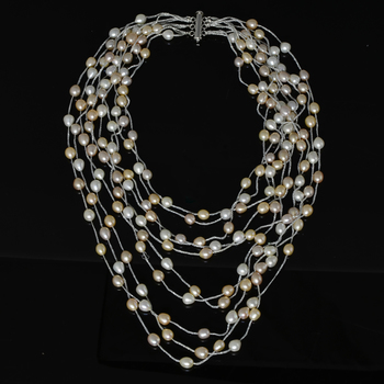 10 Strand Multi Layered Pearl Necklace