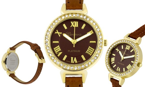 Gold Case Tone, Leather Strap Ladies Watch