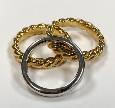 Two Tone Braided and Solid Stackable Rings