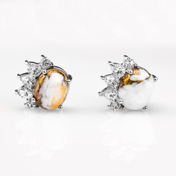 Sterling Silver Spiny Oyster & Topaz Stud Earrings
