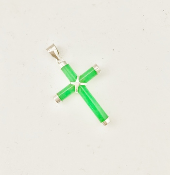 Sterling Silver Jade Cross Pendant With Chain