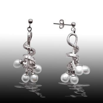 Sterling Silver Freshwater Pearl Swirl Dangle Earrings