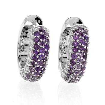 2.58ctw Pave Amethyst & Lavender Jade Huggie Hoop Earrings