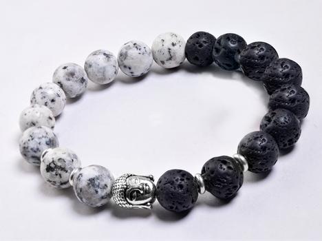 Lava & Jasper Buddha Head Stretchable Men's Bracelet