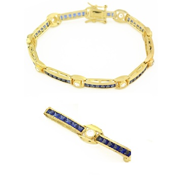 14k Gold over Sterling Silver Sapphire Blue Cubic Zirconia Tennis Bracelet