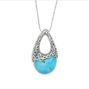 Sterling Silver Turquoise Bubble Design Pendant