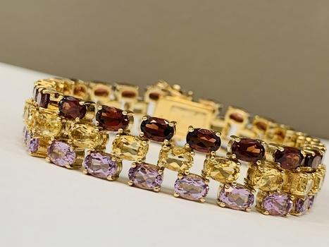 30CWT 14k over Silver Genuine Gemstones Line Bracelet