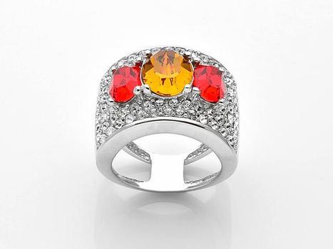 Sterling Silver Swarovski Crystal Three Stone Band Ring-Size 6