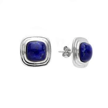 Sterling Silver Cushion Lapis Stud Earrings