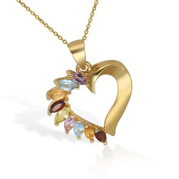 "14k Gold over Sterling Silver Multi Stone Heart with 18"" Chain"