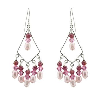 Chandelier Pink Crystal & Pearl Earrings