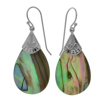 Sterling Silver Pear Shaped Abalone Earrings