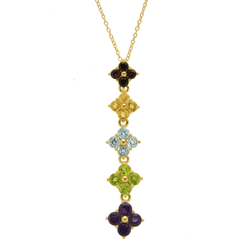 Gold Plated Over Sterling Silver Flower Multi Gem Drop Necklace