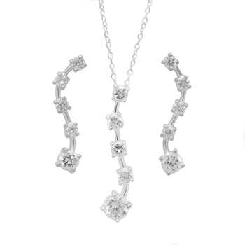 Simulated Diamond in Sterling Silver Modern Earrings and Necklace Set