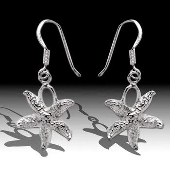 Sea Life Star Fish Dangle Earrings Sterling Silver