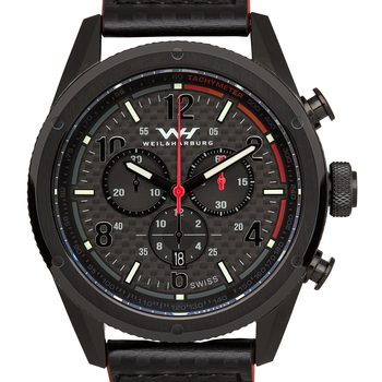 Weil & Harburg Peake Mens Swiss Chronograph Watch - Black Leather Strap, Black Dial, Black Case, Red T`achymeter* 24 hrs! No Reserve *