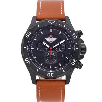Zentler Freres Rodan Mens Chronograph Watch, Tan Leather Strap, Black Dial* 24 hrs! No Reserve *