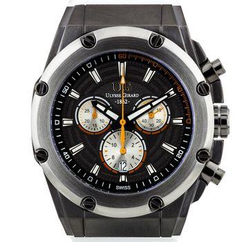 Ulysse Girard Swiss Chronograph Arbour Mens Watch - White Sillicone Strap, Gunmetal Case, Gunmetal Dial* 24 hrs! No Reserve *