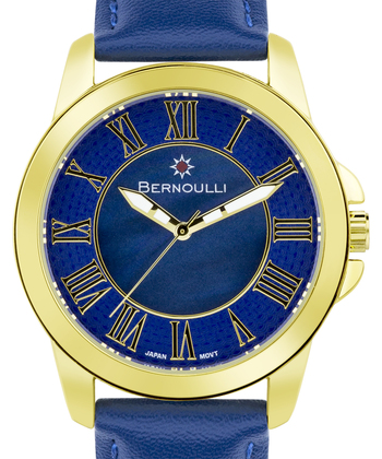 Bernoulli Faun Ladies Watch - Navy Blue Genuine Leather Strap, Gold Case, Dark Blue Chapter Ring, Dark Blue Pearl Dial Center, Gold Indexes