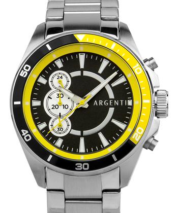 Argenti Somerset Mens Chronograph Watch - Silver Bracelet, Grey Dial, Yellow/Black Bezel