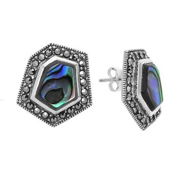 Sterling Silver Abalone and Marcasite Hexagonal Stud Earrings