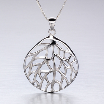 Rhodium Plated Sterling Silver Coral Fan Design Pendant