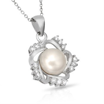 """Sterling Silver Elegant Pearl and Simulated Diamond with 18"""" Chain"""