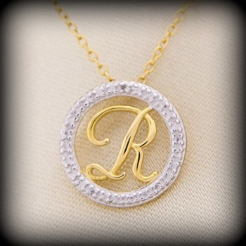 """14k over Sterling Silver Initial """"R"""" Pendant with Micro Pave Settings"""
