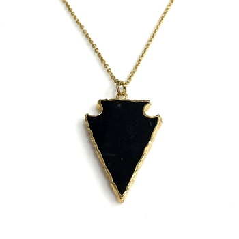 30 Inch Black Agate Arrowhead Long Necklace