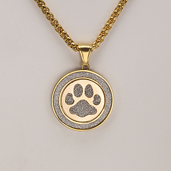 Mens Gold-Toned Stainless Steel Sand Blast Paw Print Necklace