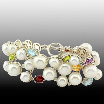 Multi Gemstone Fresh Water Pearl 7.5 Inch  Toggle Bracelet