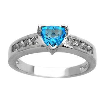 Sterling Silver Trillion Cut Swiss Blue Topaz Ring-Size 8