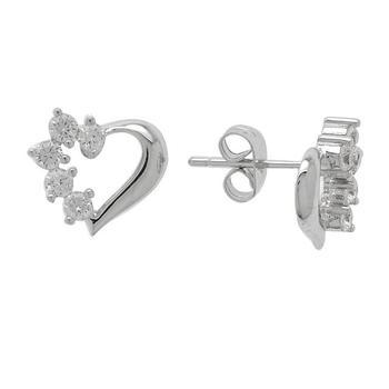 Silver Tone CZ Heart Stud Earrings