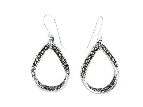 Silver Tone Marcasite Pear Shaped Earrings