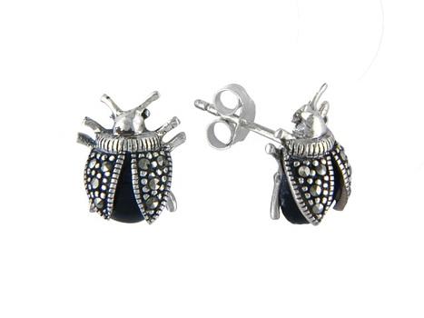 Silver Tone Marcasite Bug Stud Earrings