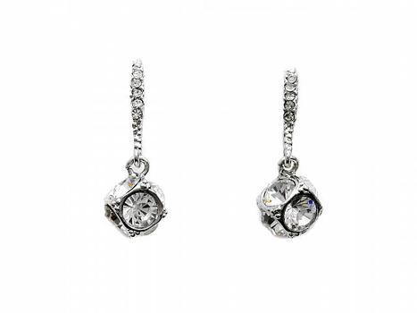 Silver Tone CZ Cube Dangle Earrings