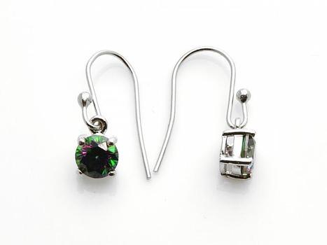 Silver Tone Mystic CZ Dangle Earrings