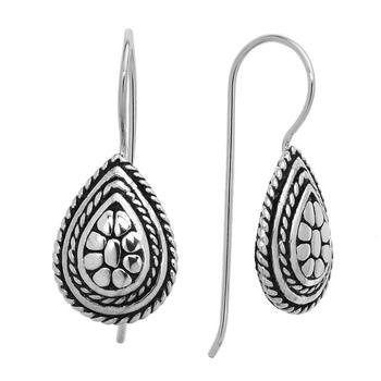 Silver Tone Boho Style Hook Earrings