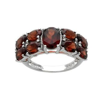 Sterling Silver 5.89cwt Garnet Two Row Ring-Size 7