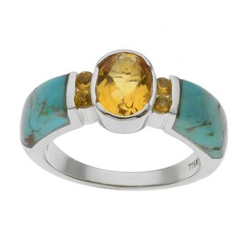 Sterling Silver Turquoise & Citrine Inlay Ring-Size 9