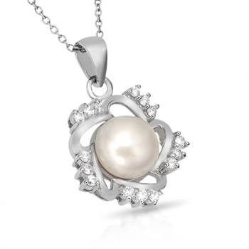 """Sterling Silver Elegant Pearl with Simulated Diamond 18"""" Necklace"""