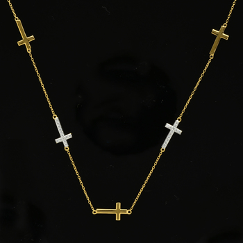 14k over Sterling Silver Station Cross Necklace