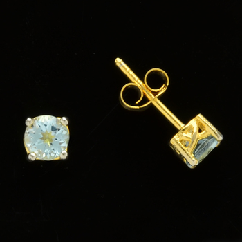 Sterling Silver Blue Yellow Gold Plated Earrings